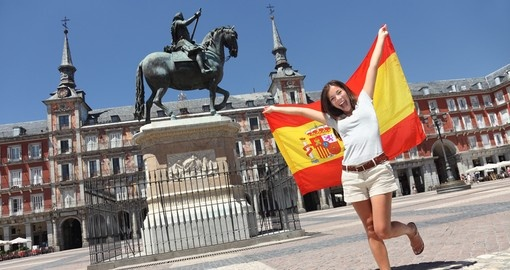 Women with a Spanish Flag