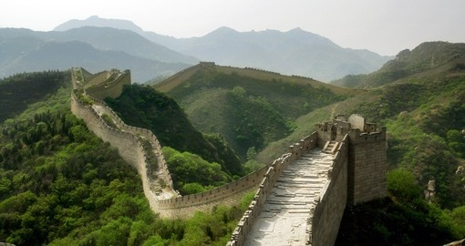 Rolling hills and The Great Wall of China