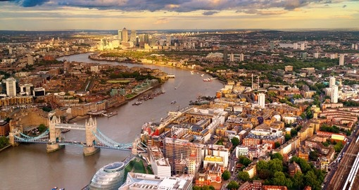 London Skyline showing Tower Bridge during your next England vacations.