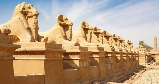 Avenue of the Ram-headed Sphinxes gaurding Karnak Temple