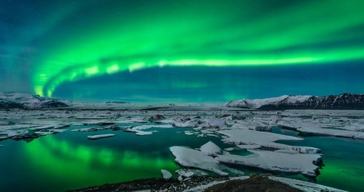 Spectacular Auroral display over the Glacier Lagoon Jokulsarlon