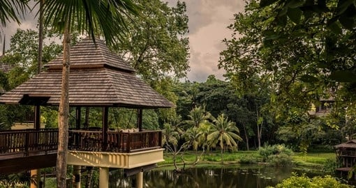 Relax on the Upper Terrace at the Four Seasons Chiang Mai on your trip to Thailand