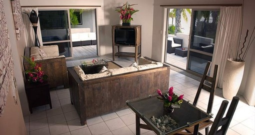 On your Trip to Cook Islands you can expect to have a room kitted with a lounge area and sliding doors