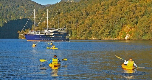 Experience Kayaking off the Fiordland Navigator during your next New Zealand vacation.