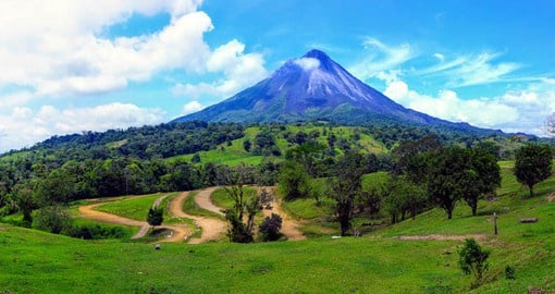 Positioned within Costa Rica's fertile northern lowlands, the Arenal Volcano has a perfectly symmetrical shape