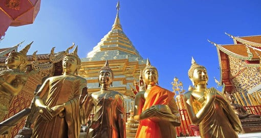 Visit Wat Phrathat Doi Suthep temple in Chiang Mai as part of your Thailand Vacation