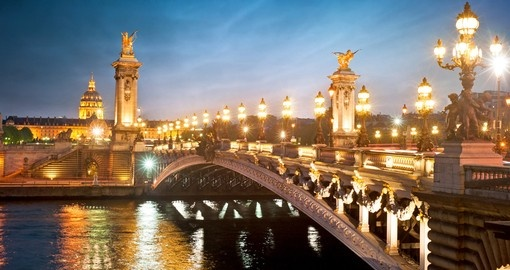 The Pont Alexandre III bridge is widely regarded as the most ornate and extravagant in the city