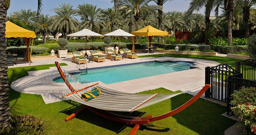 Experience all the amenities of the One and Only Royal Mirage during your vacations in Dubai.