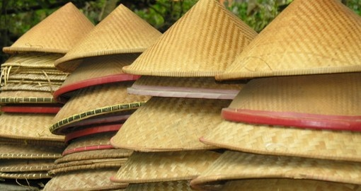 Conical hats for sale in a Ubud market