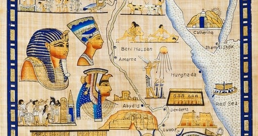 Ancient Egyptian map drawn on papyrus