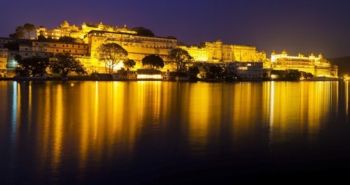 The City Palace at night is a popular spot for clients booking our India tours.
