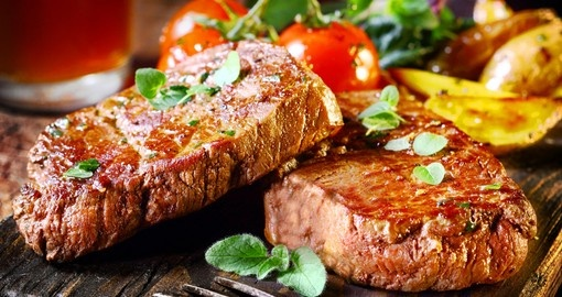Succulent thick juicy portions of grilled fillet steak