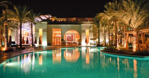 Night illumination of a popular hotel in Sharm el Sheikh