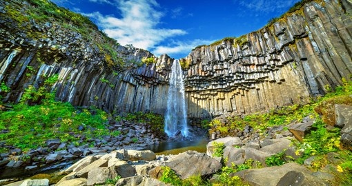 Experience amazing Svartifoss (Black Fall) in Skaftafell National Park during your next Iceland tours.