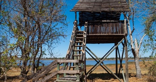 The watch tower near Dombo Hippo Pools is a great photo opportunity while on your Botswana safari.