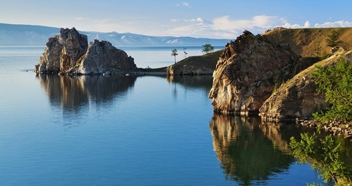 Cape Burhan and Shaman Rock on Olkhon Island - Baikal Lake - a popular inclusion on Siberia tours.