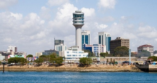 The waterfront is a popular photo spot to take photos on Dar es Salaam tours.