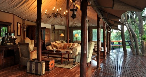 Hamilton's tented camp main lounge