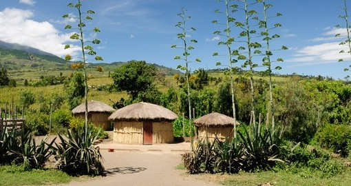 Traditional mud huts in Mozambique