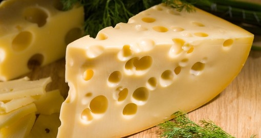 Piece of cheese with dill