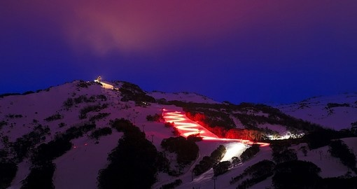 Night skiing at Thredbo ski resort
