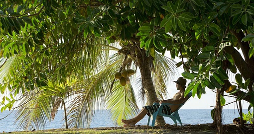 Relaxing under a coconut tree
