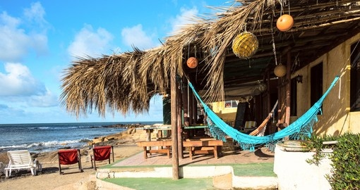 Bungalows and hammocks in Cabo Polonio