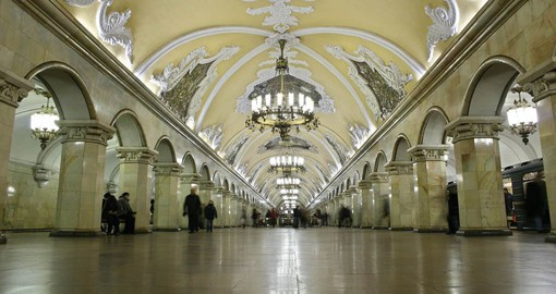 The Moscow Metro, also known as the People's Palace, was inaugurated in 1935 in the era of Stalin