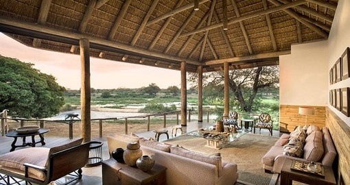 Lounge with spectactular views at Dulini River Lodge during your South Africa trip.