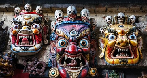 Three Bhairab masks on the wall in the shop in Bhaktapur, Kathmandu valley