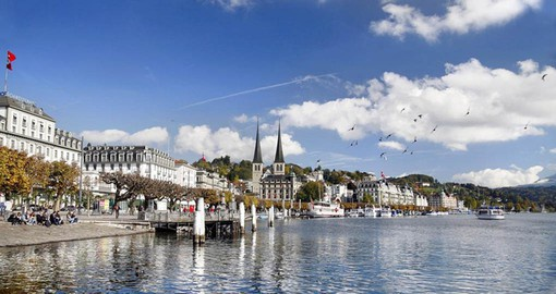 Lucerne, the gateway to central Switzerland sits on the banks of Lake Lucerne