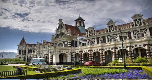 See the Dunedin Railway Station during your New Zealand vacation.