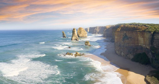 A visit to the Twelve Apostles, limestone rock formations on The Great Ocean Road is a highlight of your trip to Australia