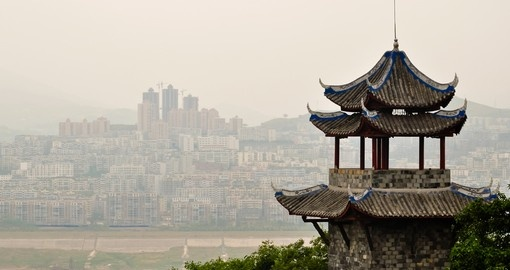 Ancient Chinese pagoda overlooking Yangtze River