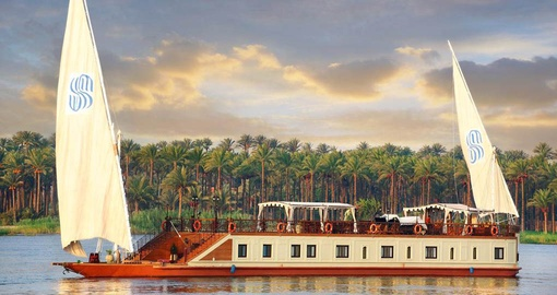 Enjoy a your Nile cruise on the luxurious Sonesta Dahabiya
