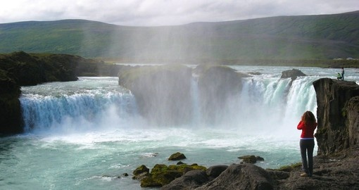 The Famous Godafoss Waterfall in Iceland