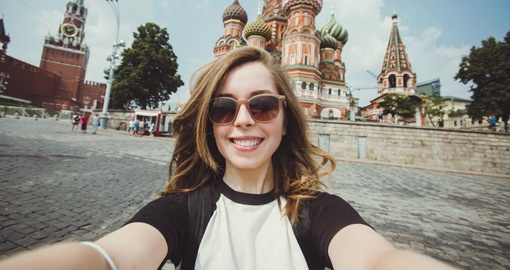 Selfie in Red Square in Moscow, Russia