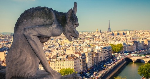 Gargoyle on top of Notre Dame Cathedral
