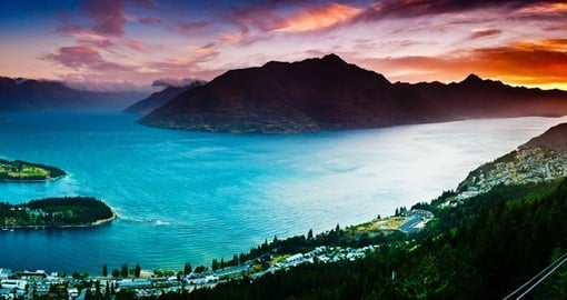 Aerial view of Queenstown with Lake Wakatipu at Dusk