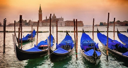 Gondolas with San Giorgio di Maggiore church in the background