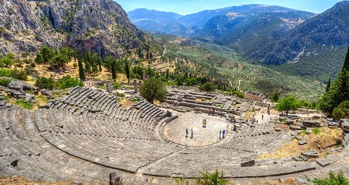 Your Greece vacation package includes a trip to Delphi.