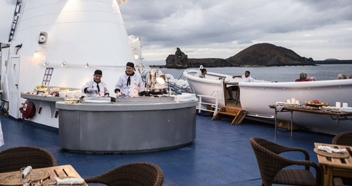 Enjoy some Al Fresco dining on the MV Legend on your Galapagos Tour