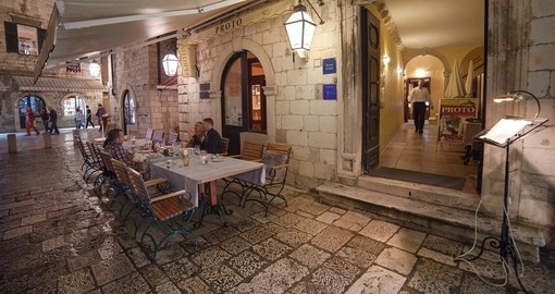 Dubrovnik has many restaurants which offer Dalmatian cuisine