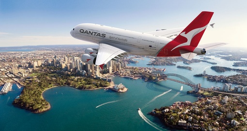 Qantas Flying Over Sydney Harbour