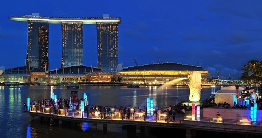Marina Bay Sands Hotel dominates the skyline in Singapore
