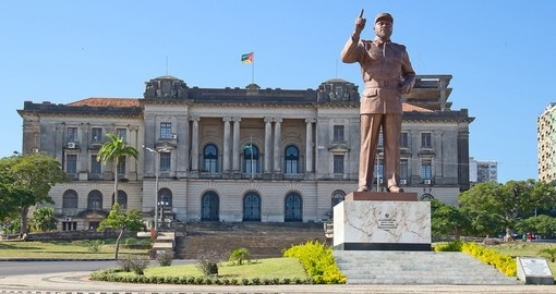 City hall and statue of Michel Samora in Maputo
