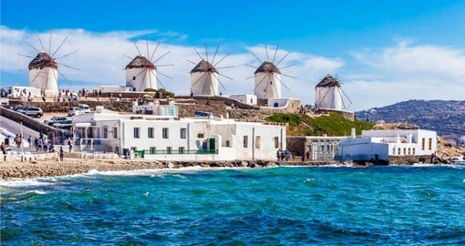 Visit Mykonos and it's windmills on your trip to Greece