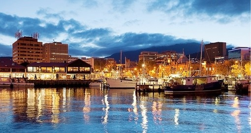 Hobart's waterfront with views of the city skyline is a great photo opportunity on all Australia vacations.