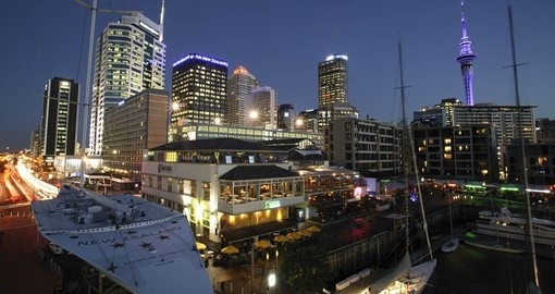 Vibrant Viaduct Harbour offers a lively night time experience in Auckland