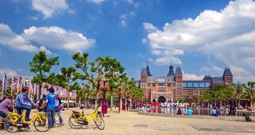 Dedicated to arts and history of Amsterdam, The Rijksmuseum sits on the city's Museumplein (Museum Square)